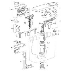 Bouchon de fermeture blanc pour AP 140 reservoir de chasse emballage 2 pces