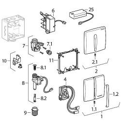 Plaque de recouvrement en zink pour commande urinoir, IR, blanc alpin