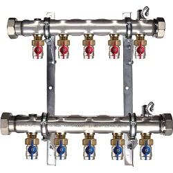 Collecteur géothermie 2''pour 5 circuits+vanne Setter en retour longueur 440 mm