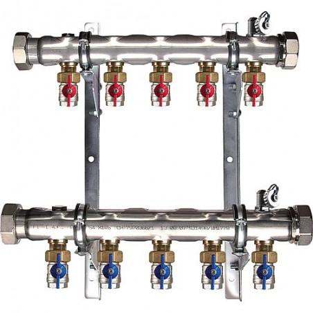 Collecteur géothermie 2''pour 10 circuits+vanne Setter en retour longueur 840 mm