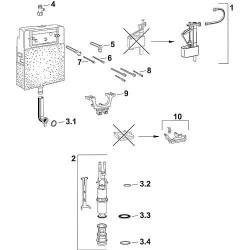 Set de vanne d'évacuation Contenu : vanne d'évacuation, support, corbeille, vanne de remplissage