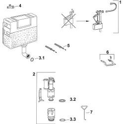 Set de joints contenu : joint torique, support de vanne, joint à lèvres, et joint d'évacuation