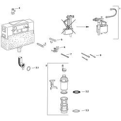 kit vanne d´écoulement avec: support vanne, support inf. vanne et panier d écoulement