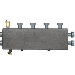 Collecteur de chauffage DN25, 2+1 circuits, avec robinet de vidange et purgeur