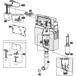 Mécanisme WC Schwab avec joint pour modèle 180.xxx