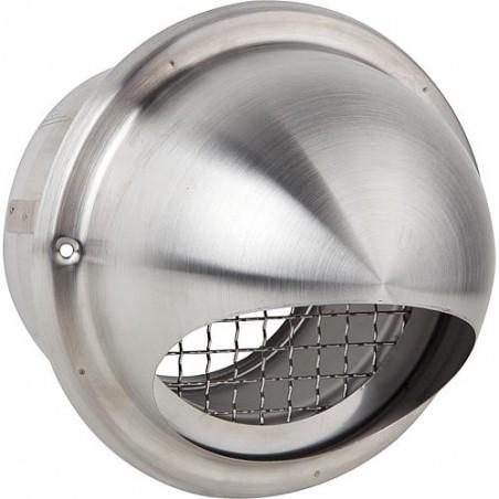 Capot d'aération avec grille perforée a partir 350 m³/h avec protec contre oiseaux V2A raccord diam 125. Diam ext 190