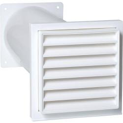 Aérateur a canal télescopique avec raccord et clapet de retenue 125 mm, blanc