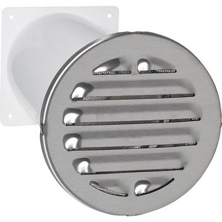 Aérateur a canal télescopique Raccord rond. D 100 mm Grille ext diam : 150 mm V2A rond