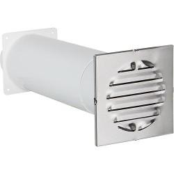 Aérateur a canal télescopique Raccord rond. D 100 mm Grille ext 150x150 mm V2A carre