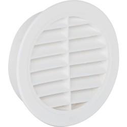 Grille d'aération ronde avec avec moustiquaire 100 mm, blanc