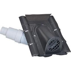 Capot d'aération type béton avec flexible PVC, noir-gris