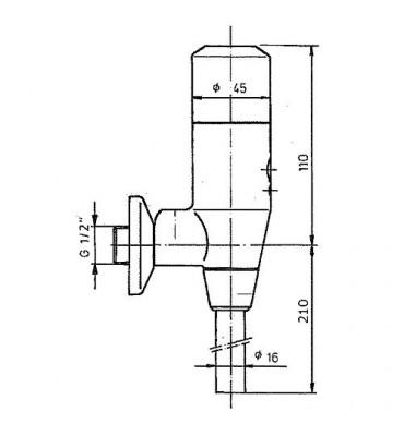 Robinet temporisé d'urinoir type 699 avec robinet d'arrêt