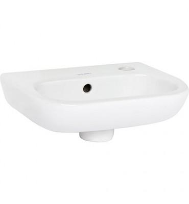 Lave-mains Duravit D-Code 360 mm avec trop plein, 1 percage mitigeur droite, blanc