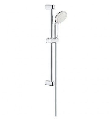 Set de douchette Grohe Tempesta 100, chromé, barre de douche 600mm, 2 types de jet