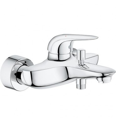 Mitigeur bain, Grohe Eurostyle chromé, levier plein encastré