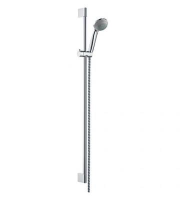 Barre de douche Crometta 85 chromée VARIO/UNICA haut 0,90m avec douchette metaflex flexible douche 1,60m