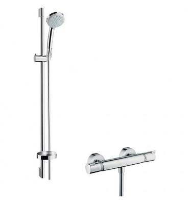 Kit de douche avec Ecostat Comfort, Croma 100 Vario et Unica´C