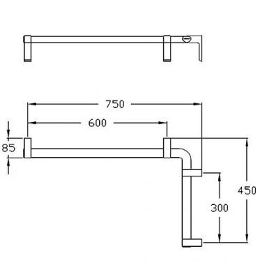 Main courante de douche Cavere droite,450x750mm, avec fixation alu ant.métal95