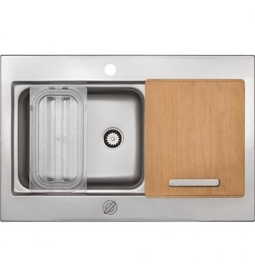 Evier Rieber WATERSTATION kit de base, inox avec planche à découper en bois