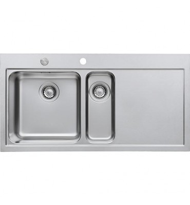 Evier Rieber Linea 150 inox gauche, avec bouton-pression -Excenter