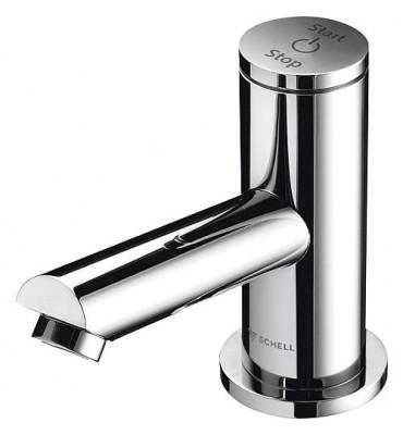 Robinetterie lavabo temporise electrique Schell Tipus P batterie/courant-9V, chrome
