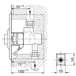 Robinet à bouton poussoir Benkiser intérieur - complet pour installation UP 6012009