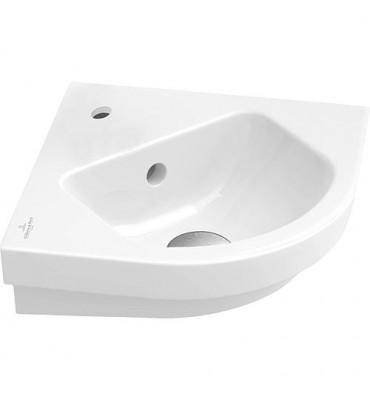 Lave-mains d'angle Subway 2.0 blanc avec trop-plein et trou long diagonale - 320mm