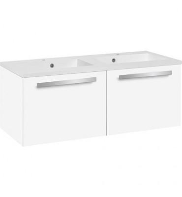 Meuble sous vasque+vasque fonte minerale EBLI blanc brillant,2 tiroirs 1210x494x510 mm