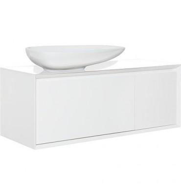 Meuble + vasque ceramique, EKIRA 2 tiroirs, blanc brillant, tablette verre en blanc, 1090x546x460mm