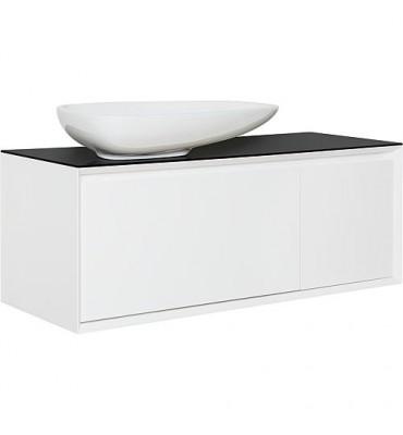 Meuble sous vasque,vasque ceramqique blanc brillant,avec tablette noire lxHxP-1090x546x460 mm - 2 tiroirs