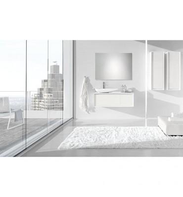 Kit meuble de salle de bain EKIRA série MBI, blanc brillant tablette en verre, blanc *BG*