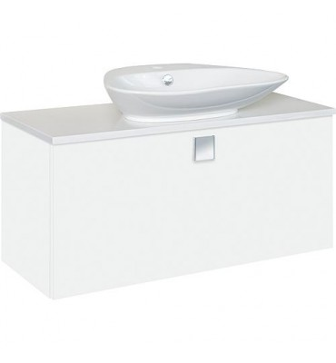 Meuble + vasque ceramique ELION blanc brillant, 1 tiroir 960x650x380/445 mm