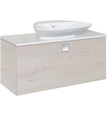 Meuble + vasque ceramique ELION decor chêne clair, 1 tiroir 960x650x380/445mm
