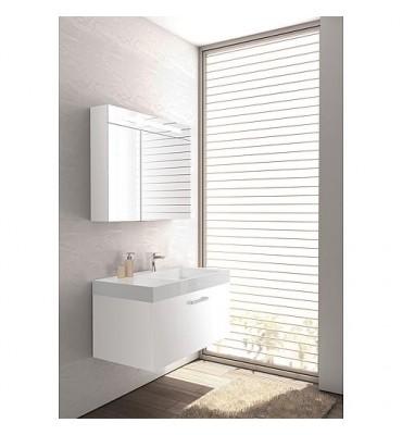 kit de meuble de bain, ELISA série MAA, blanc mat, avec armoire à glace
