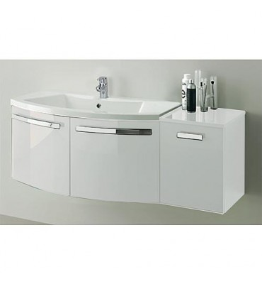 ELONIA meuble sous vasque avec vasque fonte minérale, 2xportes, blanc brillant 960x535x375/510 mm