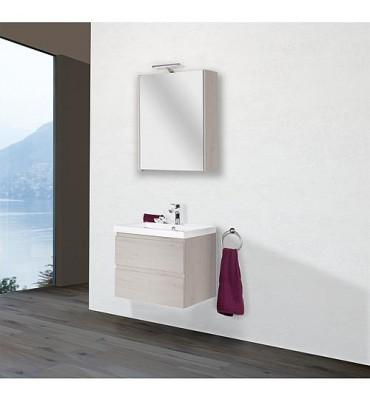 Kit meuble salle de bain ELAI série MBO, chêne clair décor largeur 600mm, 2 tiroirs