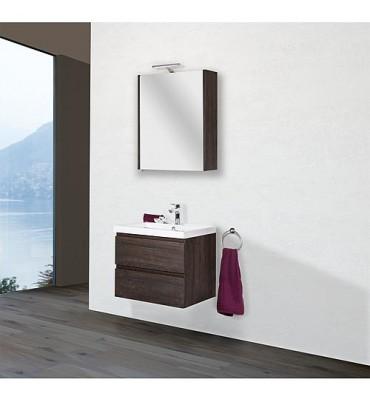 Kit meuble salle de bain ELAI Série MBO, chêne foncé decor largeur 600mm, 2 tiroirs