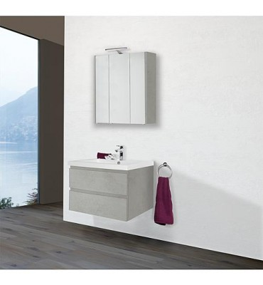 Kit meuble salle de bain ELAI série MBO, chêne foncé décor largeur 850, 2 tiroirs