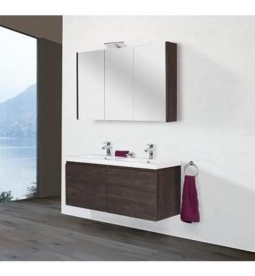 Kit meuble salle de bain ELAI série MBO, chêne foncé décor largeur 1200mm, 2 tiroirs