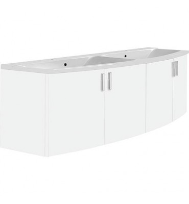 Meuble + vasque fonte minerale EMA blanc brillant, 4 portes 1410x526x380/510mm