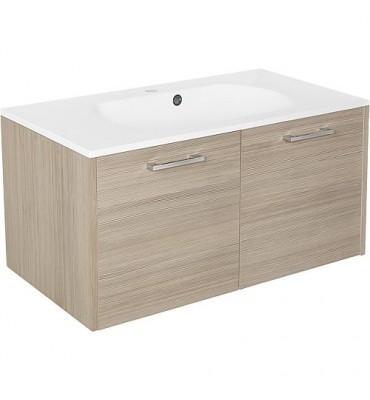 Meuble sous vasque+vasque fonte minerale ENI mélèze bicolore,2 portes 900x459x500 mm
