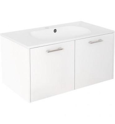 meuble sous vasque+vasque fonte minerale ENI blanc brillant,2 portes 900x459x500 mm