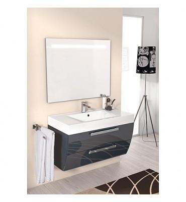 Kit meuble salle de bain ENNIA serie MAB couleur anthracite brillant largeur 900 mm