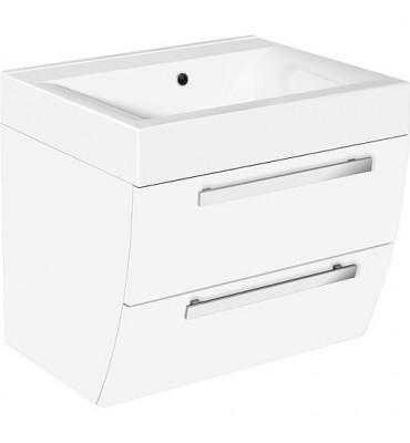 Meuble sous vasque+vasque fonte minerale ENNA blanc brillant, 2 tiroirs 600x554x500 mm