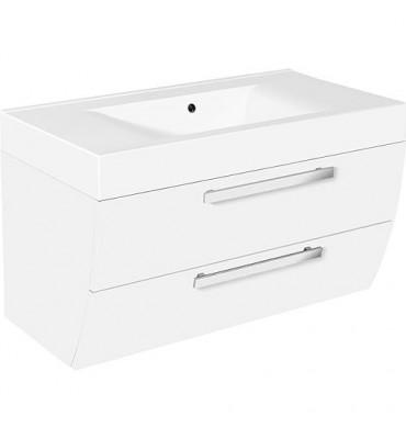 meuble sous vasque+vasque fonte minerale ENNA blanc brillant,2 tiroirs 900x544x500 mm