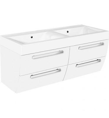 Meuble sous vasque + vasque minerale ENNA, blanc mat, 4 tiroirs, 1200x544x500mm