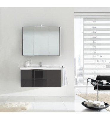 Kit de meuble de bain ENOVI serie MBH, anthracite brillant 2 tiroirs