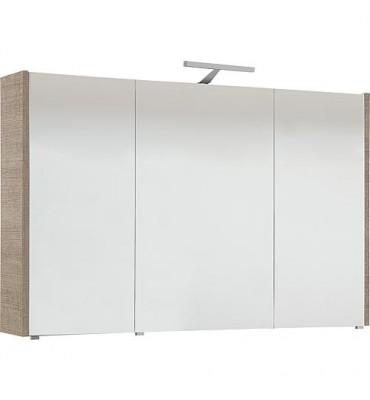 Armoire a glace avec éclairage Tranche écru et 3 portes 1050x750x188 mm