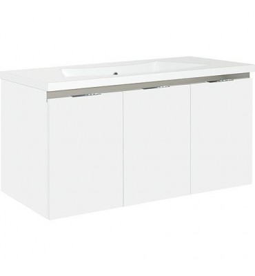ENOVI Meuble sous vasque+vasque en fonte minérale, 3 portes, blanc brillant 1060x535x510 mm