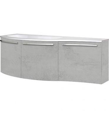 Meuble sous vasque + vasque minerale ENURI chêne gris , deco pierre, 3 portes: 1455x512x218/510